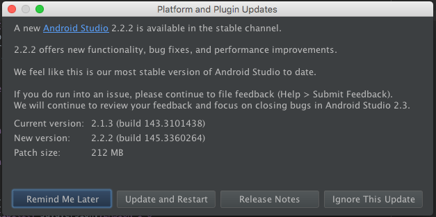 Android Studio update notification